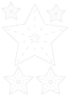 3d-Sterne: Die Sterne ausschneiden und an den gestrichelten Linien falten. Zwischen den Zacken nach innen biegen. houseno43.blogspot.de