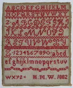 antique red work alphabet sampler