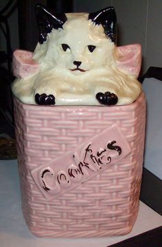 Vintage McCoy Pottery Cat Cookie Jar Good Condition Bottom Marked | eBay