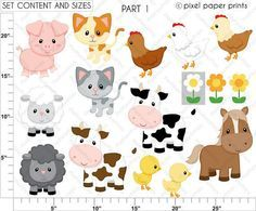 Digital clipart – Farm Animals – Digital paper and clip art set - Nutztiere Clipart, Farm Party, Marianne Design, Photoshop Elements, Print And Cut, Farm Animals, Creations, Kids Rugs, Scrapbook