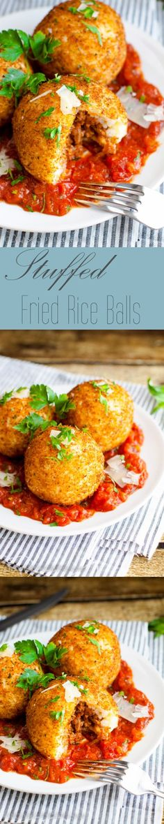 Italian Recipes Stuffed Fried Rice in 1 meal that is delish! Asian Recipes, Beef Recipes, Cooking Recipes, Healthy Recipes, Rice Recipes, Good Food, Yummy Food, Rice Balls, Risotto