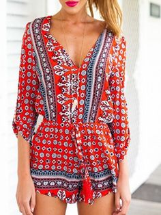 Red,V-neck,Tribe Pattern,3/4 Sleeve,Romper,Playsuit,National Style,Ethnic Print,Tribe Pattern