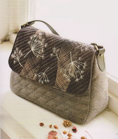 Taupe embroidered bag