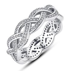 Genuine 925 Sterling Silver Sparkling Braided Paved CZ Finger Ring for Women Wedding Compatible with pan Jewelry