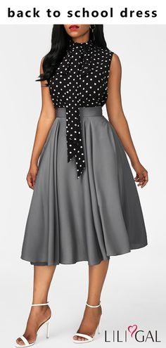 I think the polka dot print tie neck top and grey skirt outfit will be great for back to schood day. African Fashion Dresses, African Dress, Modest Fashion, Fashion Outfits, Womens Fashion, Dress Fashion, Fashion Skirts, 2000s Fashion, Fashion Fashion