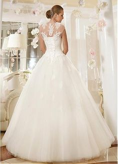 Stunning Tulle Queen Anne Neckline A-line Wedding Dress With Lace Appliques
