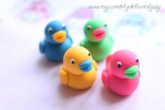 Kawaii Colourful Rubber Duck Erasers by CharmsByIzzy on Etsy, £4.00