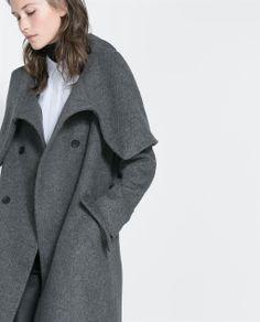 Image 2 of WOLLEN WRAPAROUND COAT from Zara