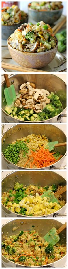 Quinoa Veggie Fried Rice – Quinoa is a wonderful substitute in this protein-packed veggie fried rice! Quinoa Veggie Fried Rice – Quinoa is a wonderful substitute in this protein-packed veggie… Healthy Cooking, Healthy Eating, Cooking Recipes, Healthy Food, Cooking Tips, Cooking Bacon, Breakfast Healthy, Healthy Sides, I Love Food