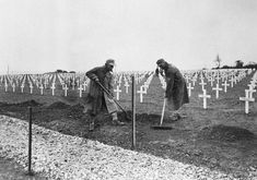 """After War. One year after the D-Day landings in Normandy, German prisoners landscape the first U. cemetery at Saint-Laurent-sur-Mer, France, near """"Omaha"""" Beach, on May (AP Photo/Peter J. Saint Laurent, Hiroshima, D Day Normandy, Normandy Ww2, Normandy France, Otto Von Bismarck, American Cemetery, D Day Landings, School"""