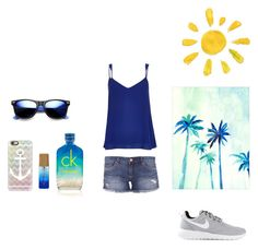 """""""It feels like summer in December rn. """" by kenidiaka ❤ liked on Polyvore featuring NIKE, River Island, BLANKNYC, Calvin Klein, Casetify and Revo"""