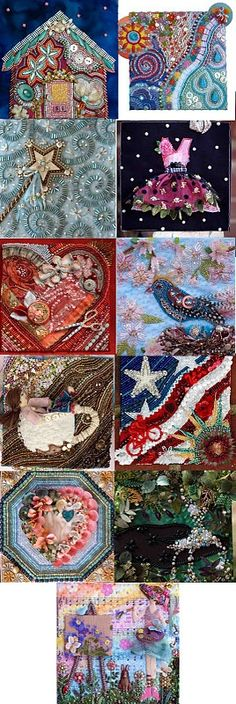 amazing beading and stitching, one done per month as a journal by Plays with Needles Susan Elliott