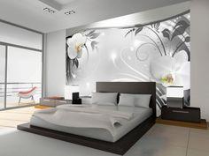 Fototapete Silber abstrakt 280 cm x 400 cm Brayden Studio Luxury Bedroom Design, Bedroom Furniture Design, Master Bedroom Design, Home Interior Design, House Wall Design, Living Room Decor, Bedroom Decor, Wall Decor, Bedroom Wall Designs