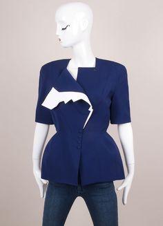 Blue and White Wool Short Sleeve Jacket