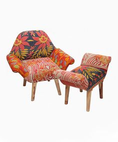 Look at this Red & Orange One-of-a-Kind Kantha Chair & Ottoman on #zulily today!