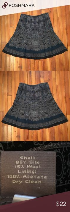 Paisley skirt Ann Taylor paisley skirt.  Side zip enclosure.  Blue/black/gray. Ann Taylor Skirts