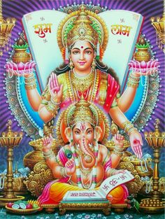 Hindu Goddess Lakshmi and Lord Ganesha Picture Mother Kali, Divine Mother, Mother Goddess, Shri Ganesh, Lord Ganesha, Baby Ganesha, Ganesha Art, Krishna Radha, Lord Vishnu