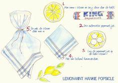 citroen (of sinaasappel) met pepermunt avondvierdaagse in zakdoek #avond4daagse