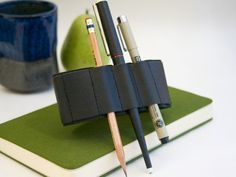 Journal Bandolier / Black Leather / pencil case pen by cleverhands, $18,95