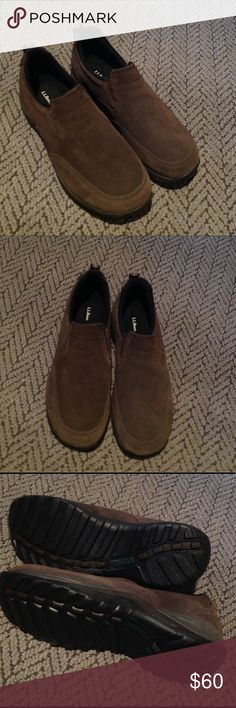 L.L. Bean Suede Slip Ons Men's insulated waterproof comfort Mocs with arctic grip. New condition, dark brown suede in men's size medium. Retails for $99. L.L. Bean Shoes Loafers & Slip-Ons