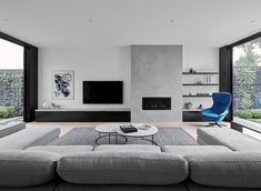 There maybe hundreds of different contemporary living room styles, but the easiest way to begin to get the contemporary look … Living Room Decor Fireplace, Home Fireplace, Modern Fireplace, Living Room Tv, Fireplace Design, Living Room Interior, Home And Living, Apartment Living, Small Living