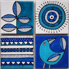 Jocelyn Proust Designs Handpainted Ceramic tiles made to order. Set of 4 x - Jocelyn Proust Designs Handpainted Ceramic tiles made to order. Set of 4 x - Painting Ceramic Tiles, Pottery Painting, Fabric Painting, Ceramic Art, Madhubani Art, Madhubani Painting, Wal Art, Indian Folk Art, Ceramic Design