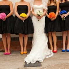 Black bridesmaids dresses with color pop matching bouquets and heels