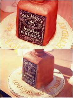 Whiskey bottle cake.