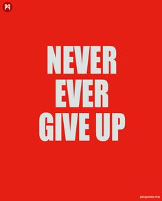 Never ever give up.
