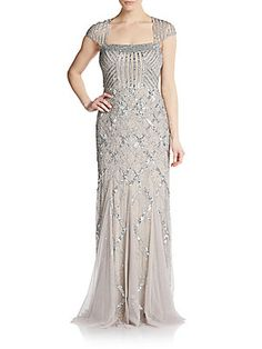 Adrianna Papell Geometric Sequined Gown - Platinum - Size