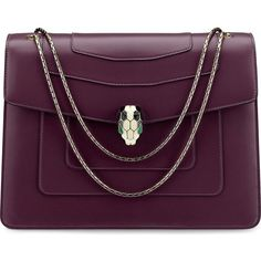 BVLGARI Serpenti Forever leather shoulder bag (£1,940) ❤ liked on Polyvore featuring bags, handbags, shoulder bags, bolsa, leather shoulder handbags, fold over purse, purple leather handbags, genuine leather handbags and leather purses