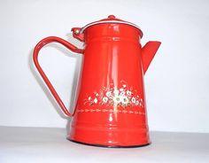 Amazing red Enamel coffee tea pot with flowers motif on Etsy, $35.00