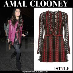 Amal wore burgundy leather jacket, black and red Valentino mini dress and black Paul Andrew suede ankle boots