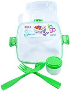 Sistema Salad To Go BPA Free Salad Container Green 2Pack *** Want additional info? Click on the image.
