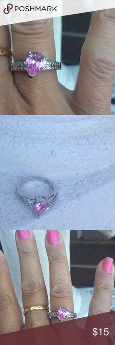 Pink Stone Ring Beautiful silver tone pink stone rink. Great shine, beautiful gallery! Size 8 Jewelry Rings