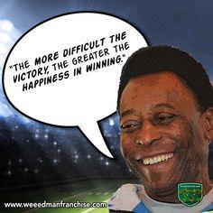 Soccer legend Pelé knew that success tastes better when hardship gets in the way. Remember that on tough Mondays! Motivational Quotes For Entrepreneurs, Lawn Care, Some Words, Mondays, Soccer, Wisdom, Shit Happens, Happy, Futbol