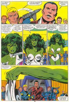 The Sensational She-Hulk - Marvel Graphic Novel n°18 p27. Art by John Byrne.