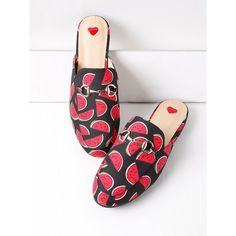 Watermelon Print Loafer Mules ($42) ❤ liked on Polyvore featuring shoes, loafer mules, synthetic shoes, mule shoes, loafer shoes and mule loafers
