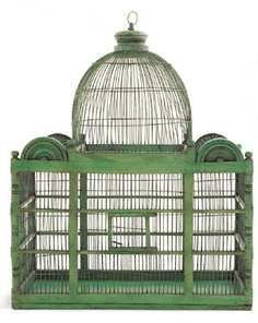 Atlanta-based Vagabond Vintage interpretation of an antique birdcage, crafted from recycled metal and sustainably harvested acacia