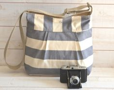 Water Proof -Cross body bag / Diaper bag STOCKHOLM Gray  and Ecru Stripes Pleated French Messenger bag - 10 Pockets. $89.00, via Etsy.