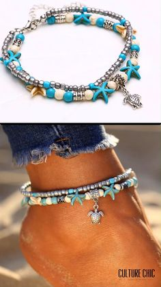 Sway your way around this season and show off your gorgeous legs like a charmer with our one-of-a-kind Sea Star & Turtle Anklet. Let it adorn your ankles and make each stride sparkling and alluring. Ankle Jewelry, Ankle Bracelets, Cute Jewelry, Jewlery, Beaded Anklets, Beaded Jewelry, Beaded Bracelets, Hippie Bracelets, Handmade Jewelry Bracelets