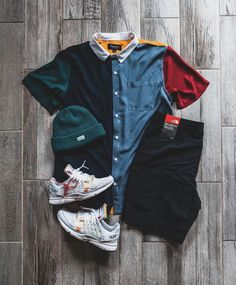 Love the contrast of the shirt and the uniformity of each of other items works well Swag Outfits Men, Stylish Mens Outfits, Retro Outfits, Grunge Outfits, Cool Outfits, Vintage Outfits, Casual Outfits, Tomboy Fashion, Streetwear Fashion