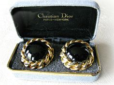 Black and Gold Christian Dior Earrings Round Black Glass