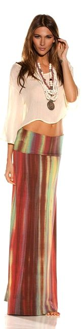boho tie dye skirt and sheer mid drift top - loooove Only Fashion, Look Fashion, Womens Fashion, Bohemian Style, Boho Chic, Hippie Chic, Boho Gypsy, Moda Hippie, Cute Skirts