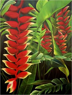 oil painting maui tropical flower heliconia rostrata by Hawaii artist anna keay