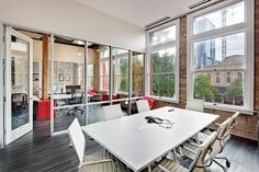 Tech firm Chaotic Moon's open and airy confernce room.