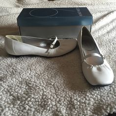"""❗️PRICE DROP❗️EUC Nine West White Kitten Heel EUC Nine West White Buckle Kitten Heel - worn twice & in excellent condition. Small black scuff on back of right shoe as can be seen in 4th picture. Size 7.5"""". Cute silver buckle accent on each shoe. Original box included. Original price $68 and I paid $39.99 + tax. Appx 1.25"""" heel. Smoke free pet free home. Nine West Shoes Heels"""