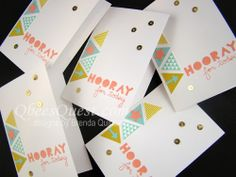 Hooray for Today Card   Geometrical Stamp Set, Note Cards, A1, Triangle Punch, Merry Minis Punch Pack, Gold Sequin Trim, Stampin' Up
