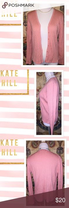 Kate Hill pink cardigan size medium Made by Kate Hill this is a size medium pink cardigan. It has oval buttons down the front. It is made of silk and nylon and is dry clean only. Has area by collar at the top where seam meets with arm on left side that has very small area that is coming undone. No other unraveling, holes or stains noted. This cardigan is fabulous and you can barely notice the one small flaw. Kate Hill Sweaters Cardigans