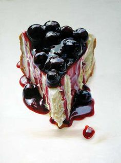 Dessert Paintings That Look Real Enough to Eat Mary Ellen Johnson, Big Blueberry Cheesecake, oil on panel, x Blueberry Desserts, Blueberry Cheesecake, Köstliche Desserts, Delicious Desserts, Dessert Recipes, Cupcakes, Watercolor Food, Food Painting, Paintings Of Food